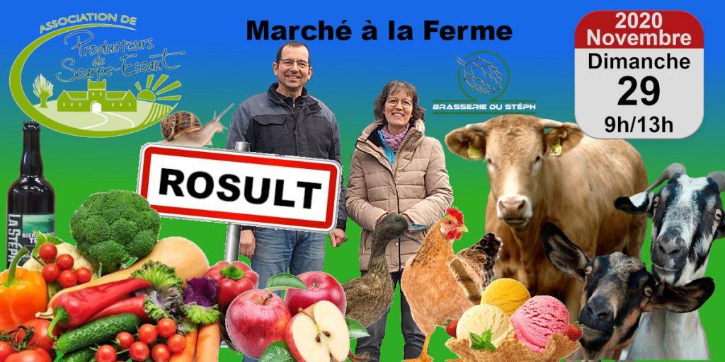 """L'image annonce le """"Marché à la Ferme"""" du dimanche 29 novembre 2020, de 9h à 13h à la Brasserie du Stéph"""