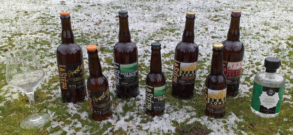 les différentes bières disponibles en ce moment sont : La Prestige, la Triple, la Blonde et la Festive.